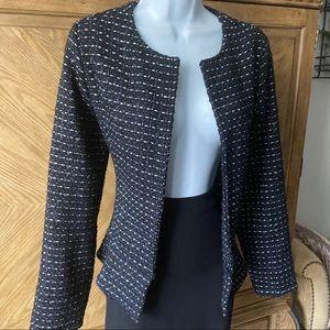 Dolan black blue metallic tweed ruffle open blazer